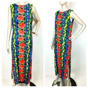 Vtg 70's 80's Young Hawaii Colorful Floral Dress